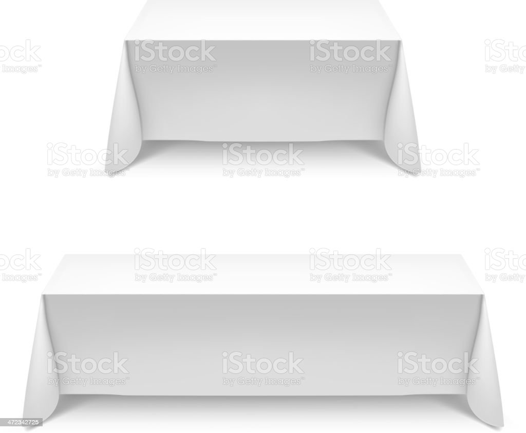 Dining tables covered with white tablecloths vector art illustration
