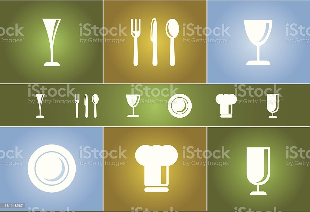 Dinner & Cooking Vector Icon Set #1 royalty-free stock photo