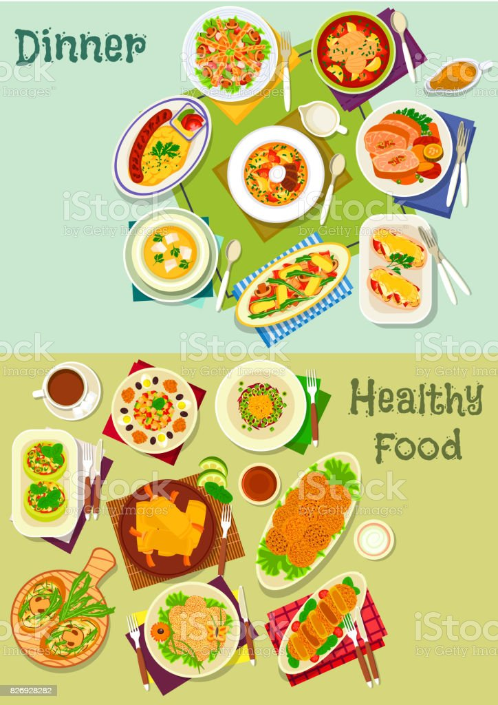 Dinner dishes icon set with salad, snack and soup vector art illustration