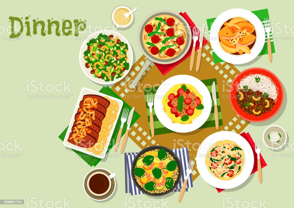 Dinner dishes icon with pasta, salad and meat vector art illustration
