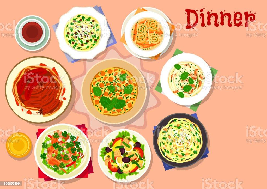 Dinner dishes with dessert icon for menu design vector art illustration