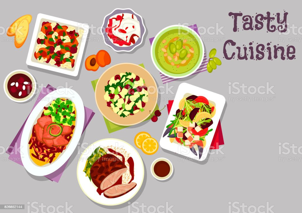 Dinner dishes with fruits icon for food design vector art illustration