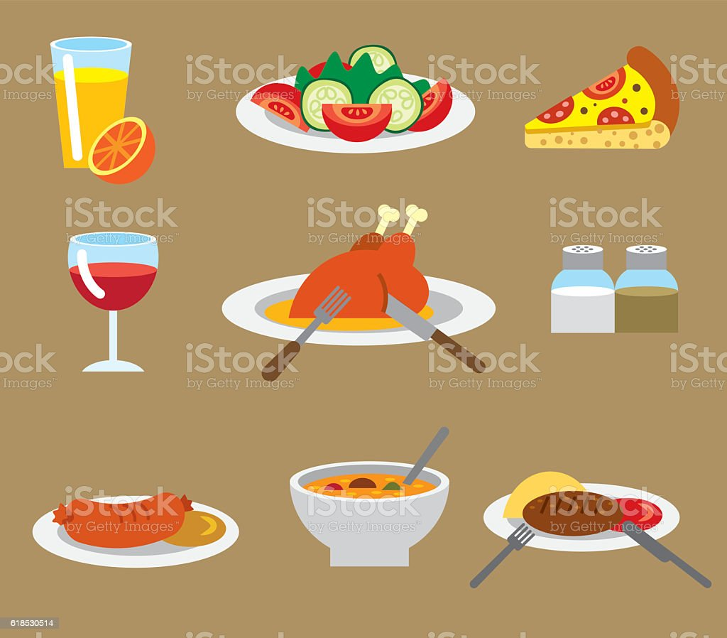 dinner flat icons vector art illustration