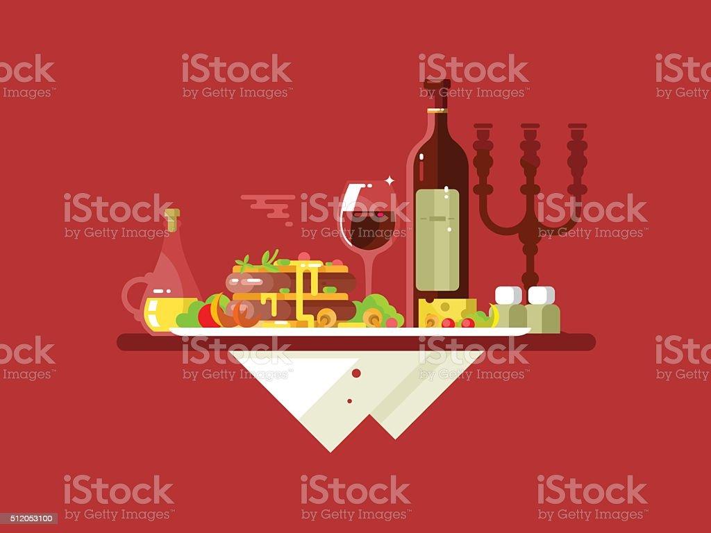 Dinner food restaurant vector art illustration