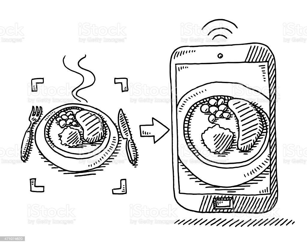 Dinner Food Selfie Smart Phone Drawing vector art illustration