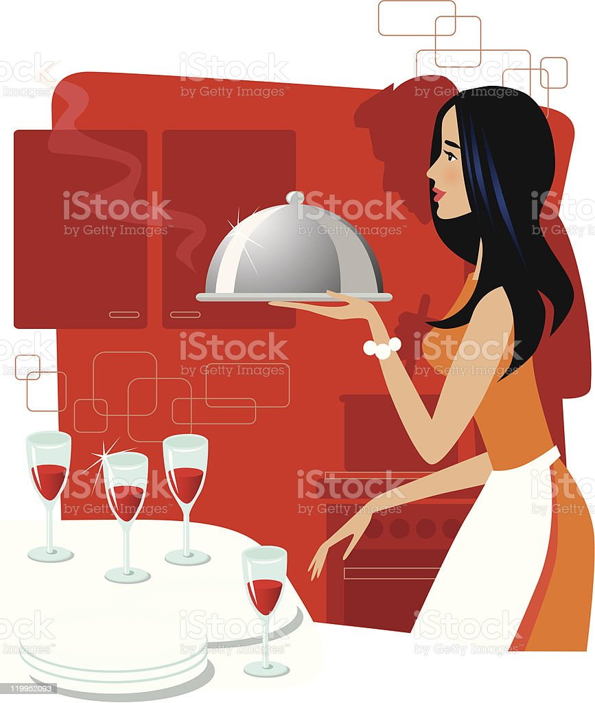 Dinner for four royalty-free stock vector art