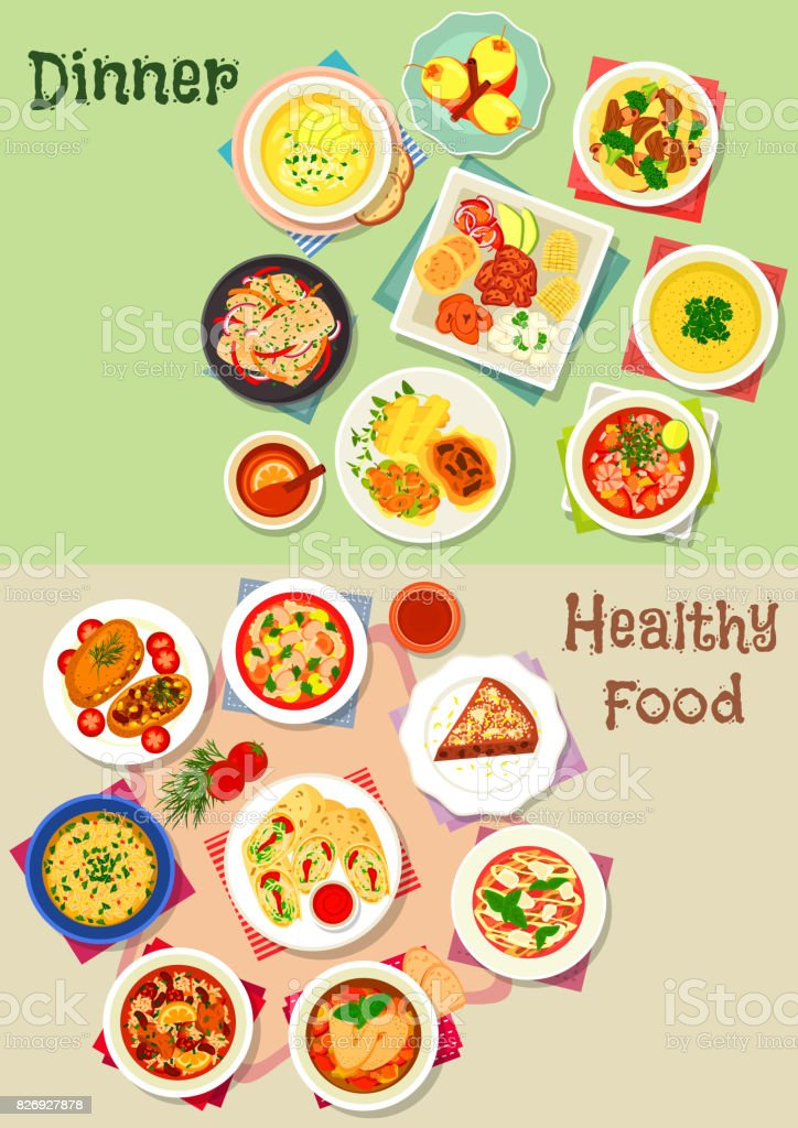 Dinner icon set for healthy food theme design vector art illustration