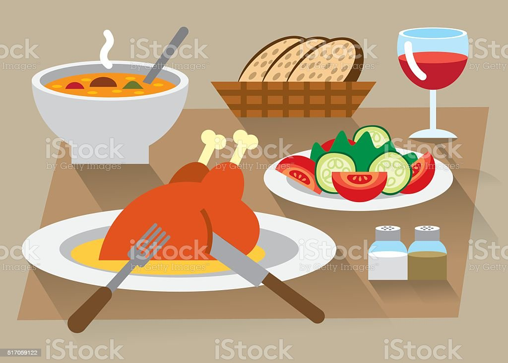 dinner icon set vector art illustration
