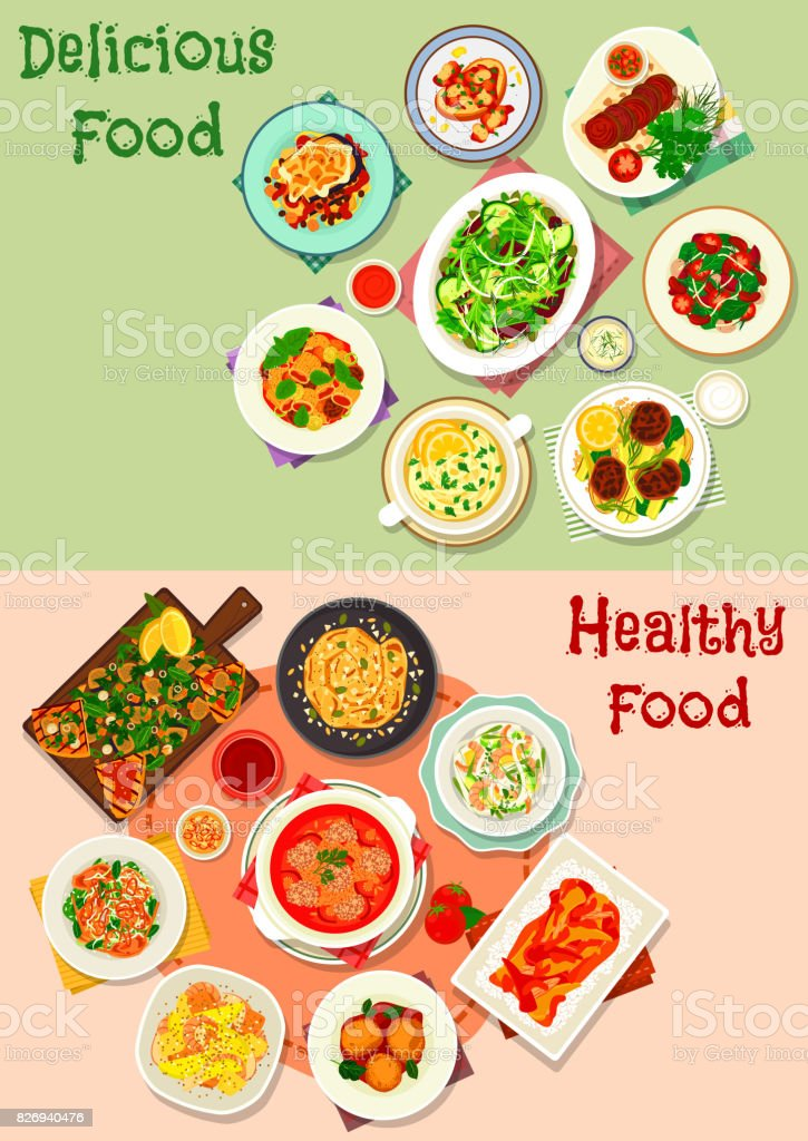 Dinner icon set with meat, vegetable and seafood vector art illustration