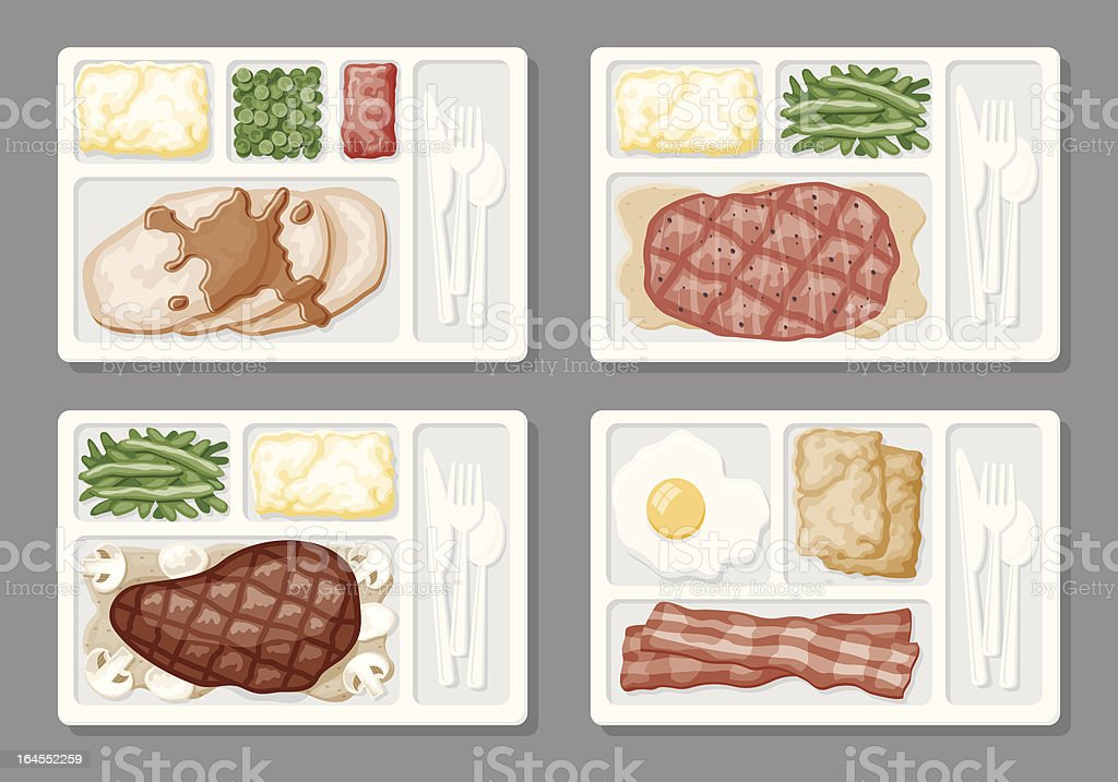 TV Dinner Icons vector art illustration