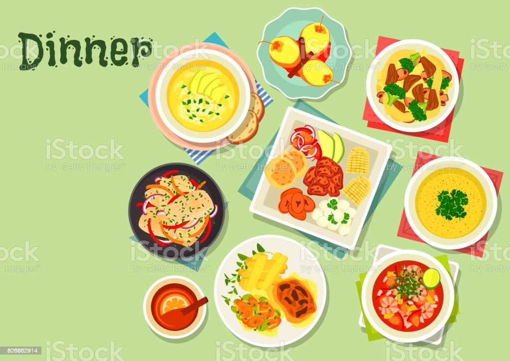 Dinner menu dishes with exotic fruit dessert icon vector art illustration