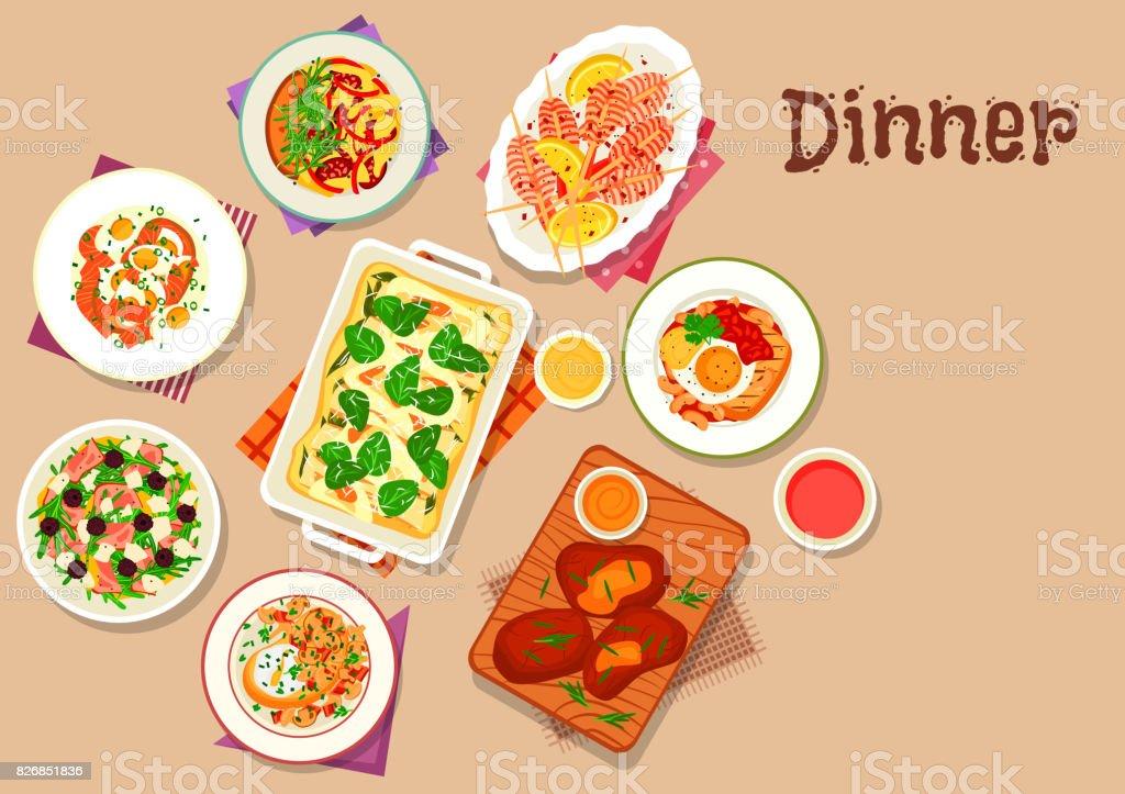 Dinner menu icon for healthy food design vector art illustration
