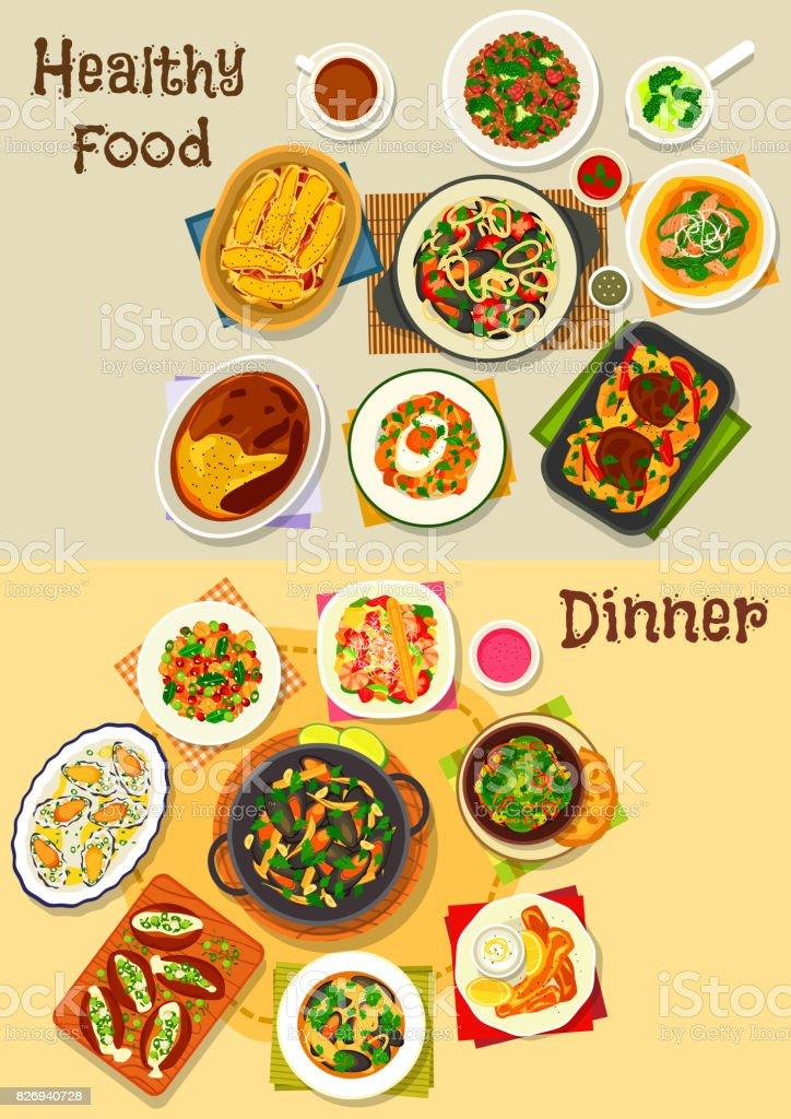 Dinner menu icon set for food theme design vector art illustration