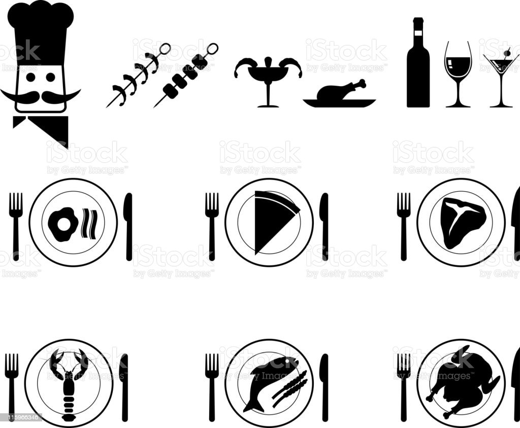 Dinner plate food and chef vector icon set in black royalty-free stock vector art