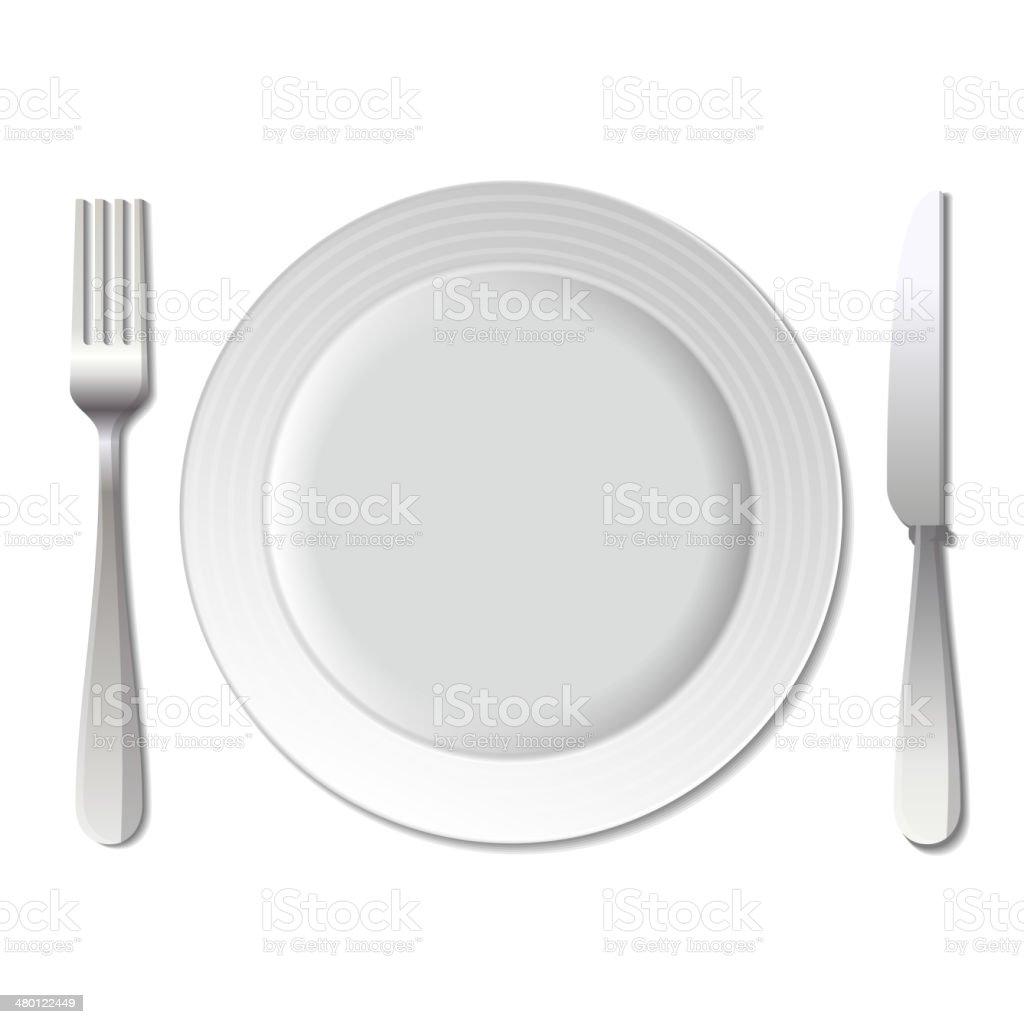 Dinner plate, knife and fork. Vector. royalty-free stock vector art