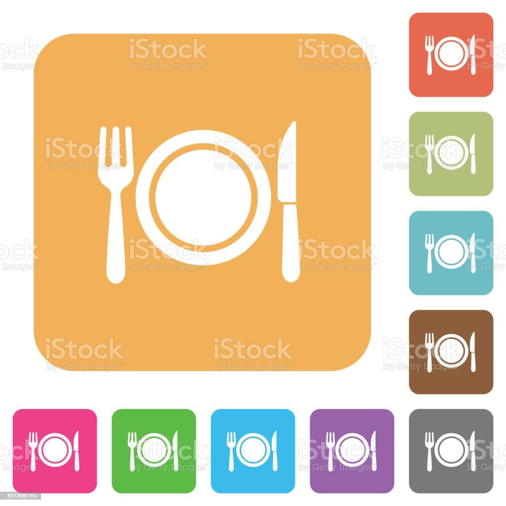 Dinner rounded square flat icons vector art illustration