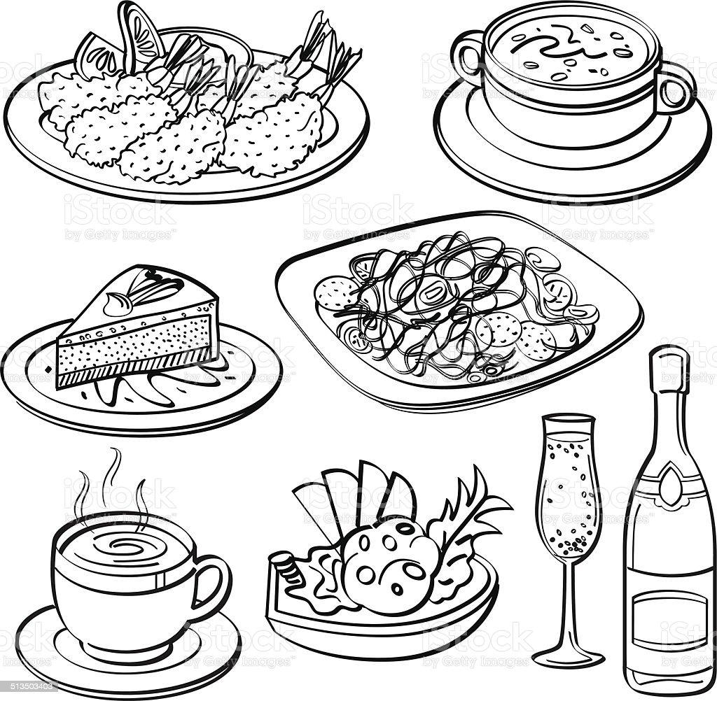 Dinner Set Collection vector art illustration