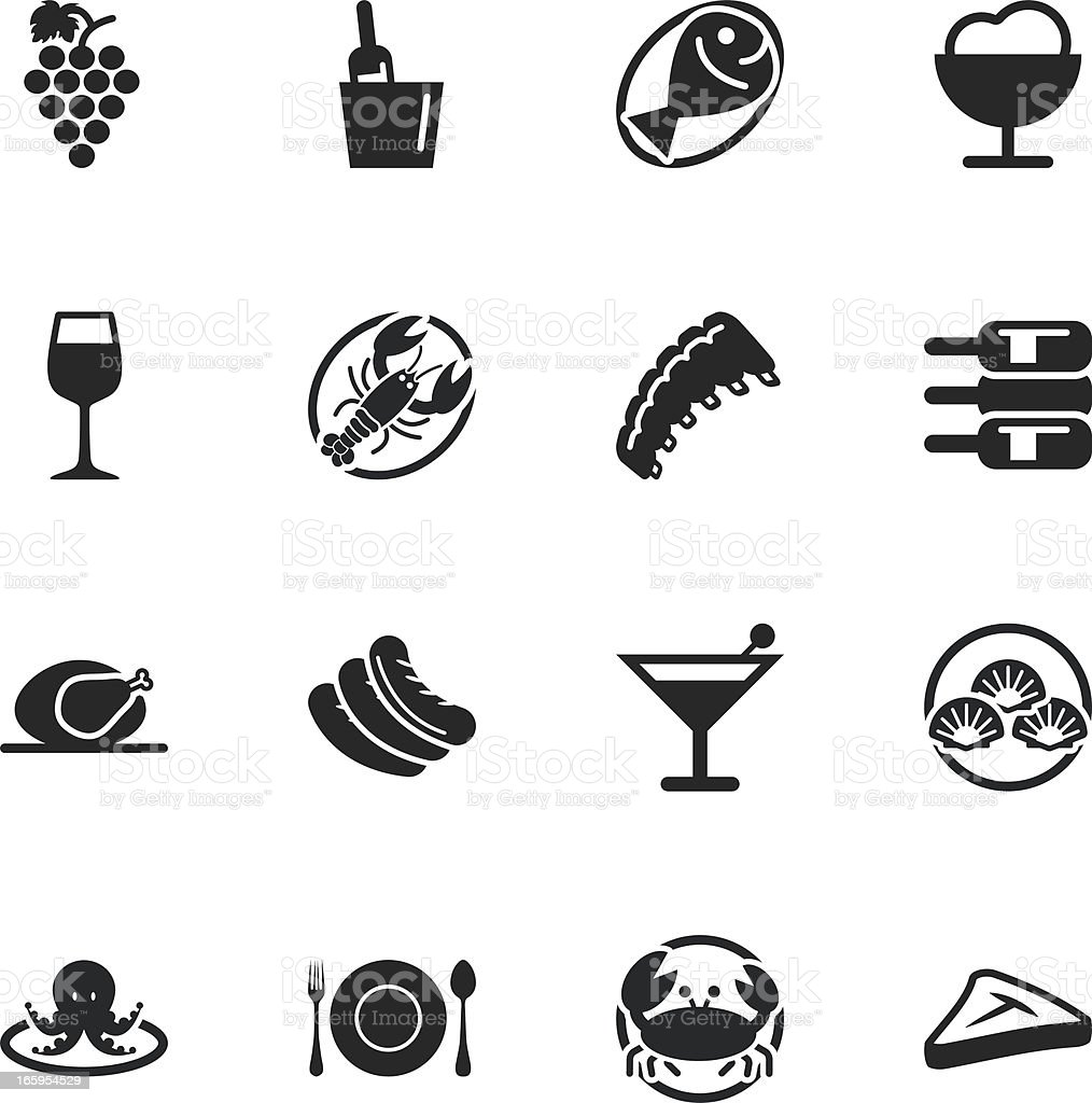 Dinner Silhouette Icons vector art illustration