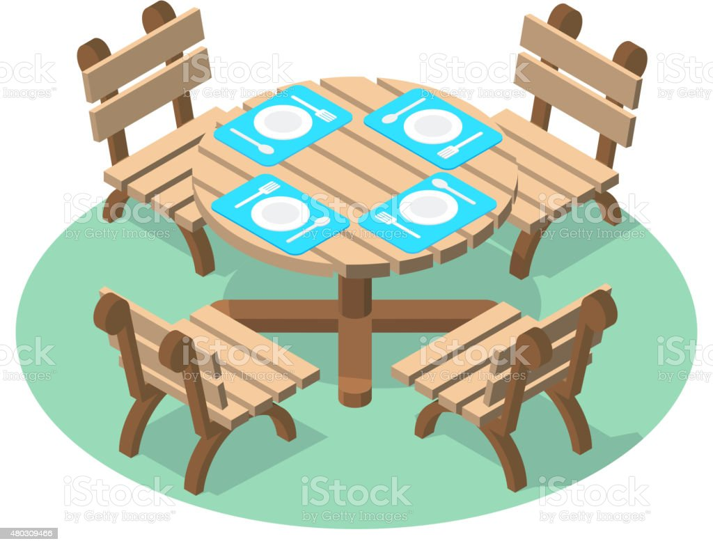 Dinner table with cutlery and four chairs vector art illustration