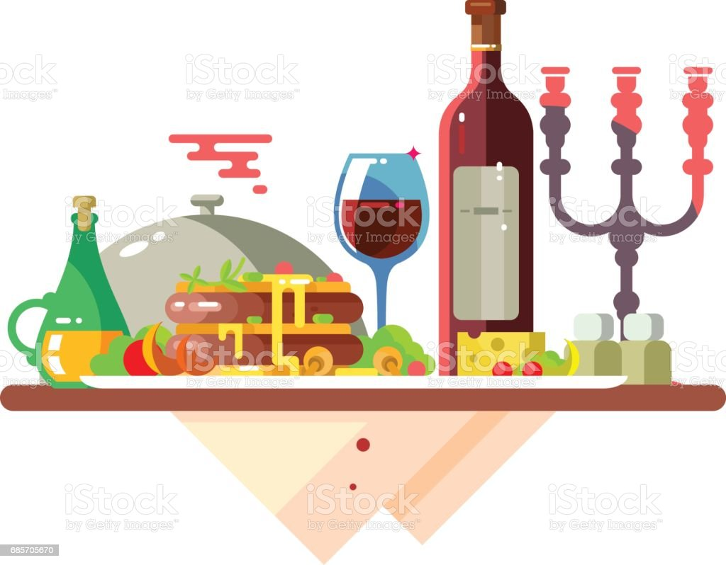 Dinner table with food at restaurant vector art illustration