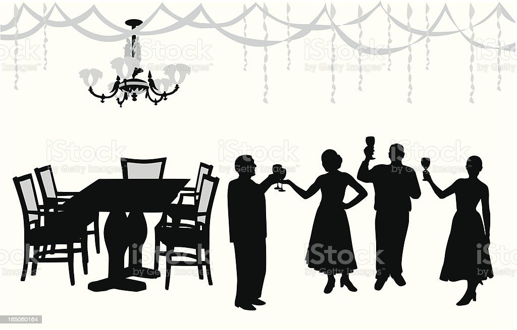 Dinner With Friends Vector Silhouette royalty-free stock vector art