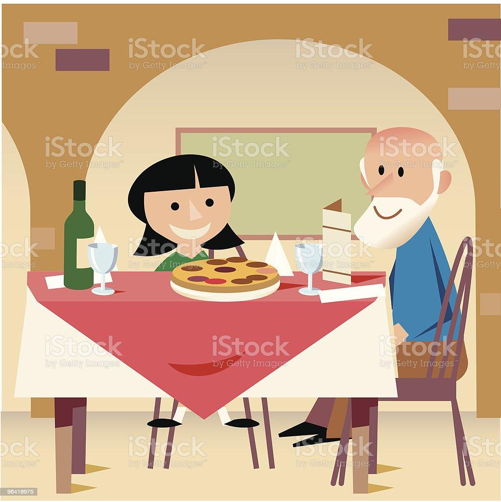 Dinner with Grandpa vector art illustration