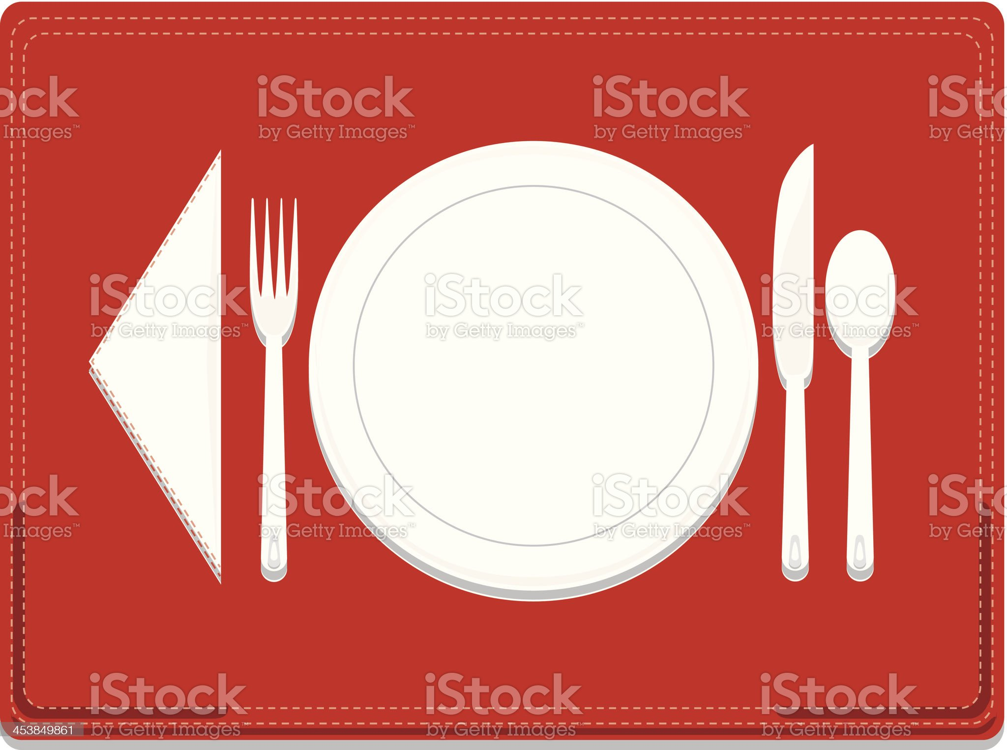 Dinnerware Place Setting with Optional Red Stitched Placemat royalty-free stock vector art