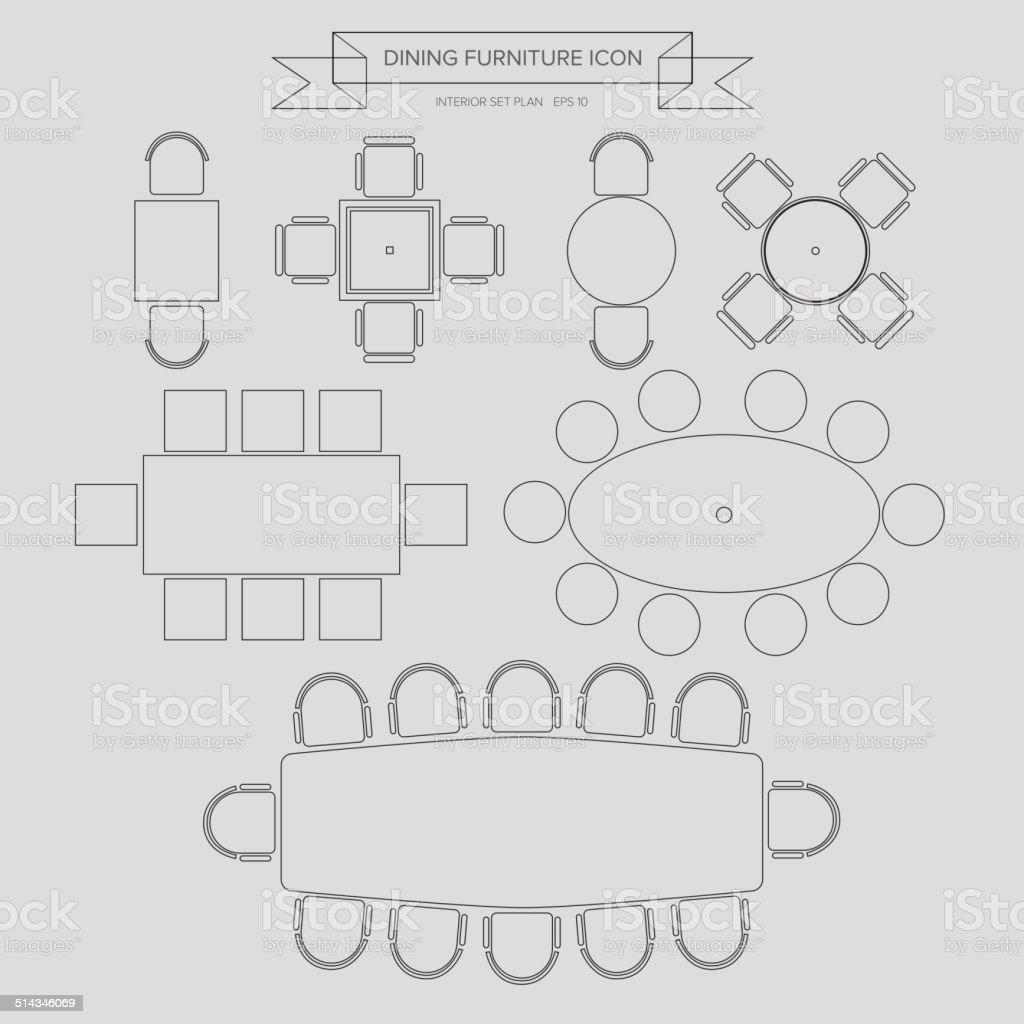 Dinning Furniture outline Icon vector art illustration