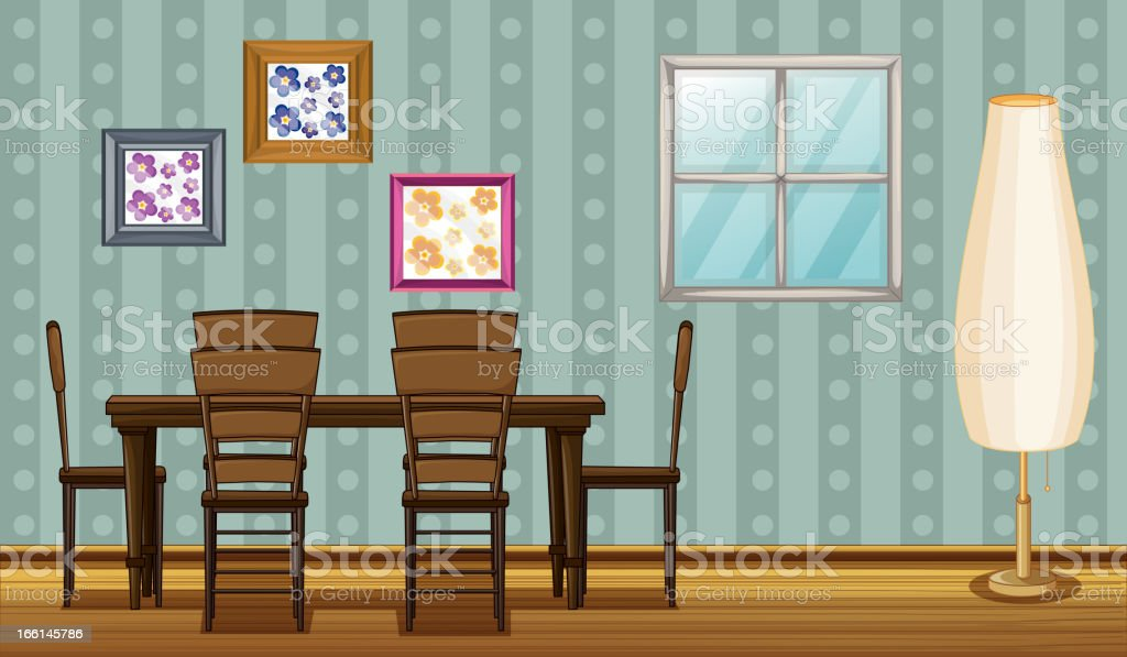 Dinning table and a lamp royalty-free stock vector art