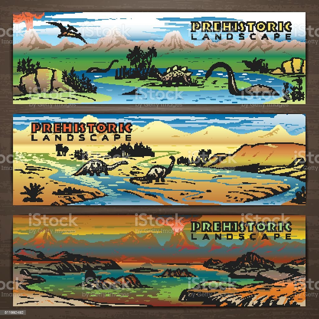 Dino banners 1 color vector art illustration