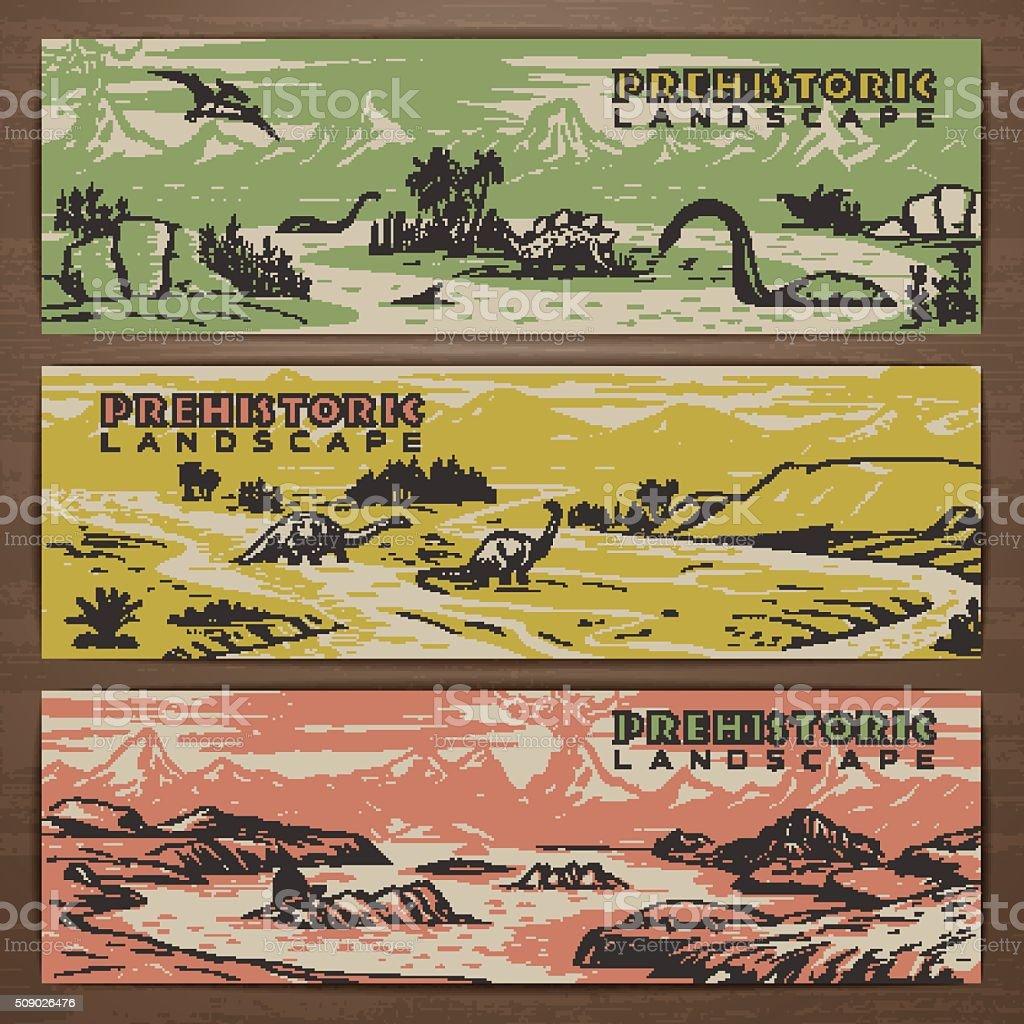 Dino banners 1 vector art illustration