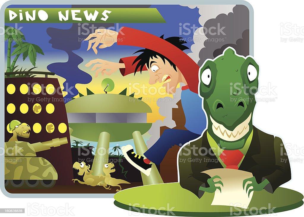 Dino news vector art illustration