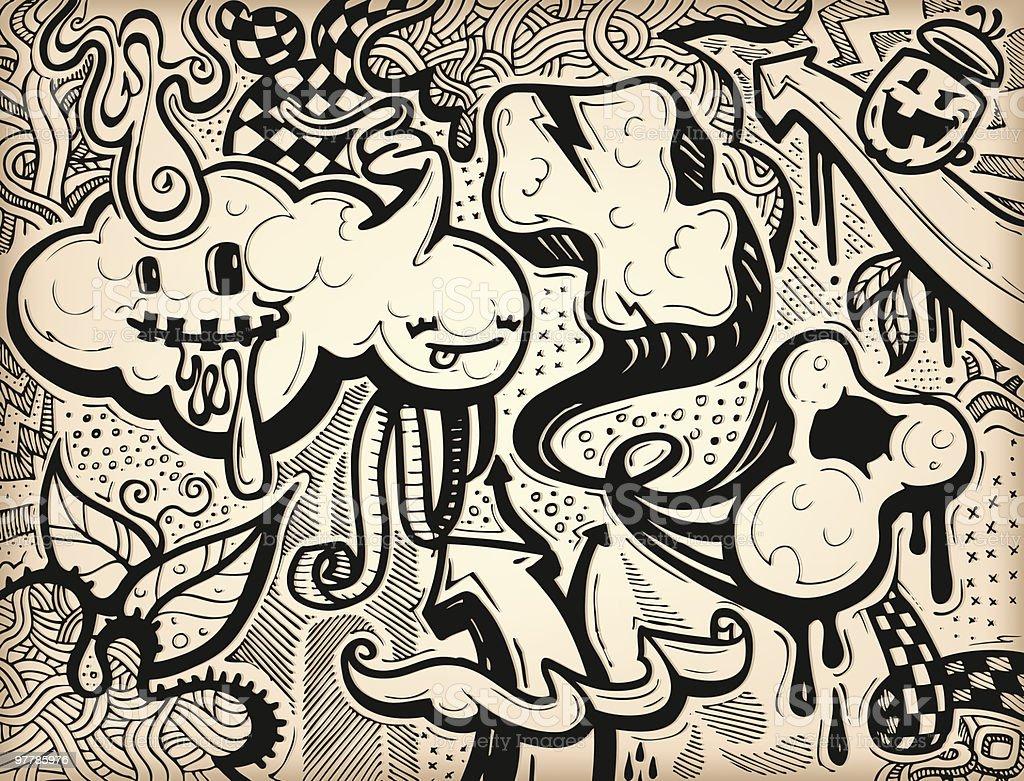 Dino's Graffiti vector art illustration