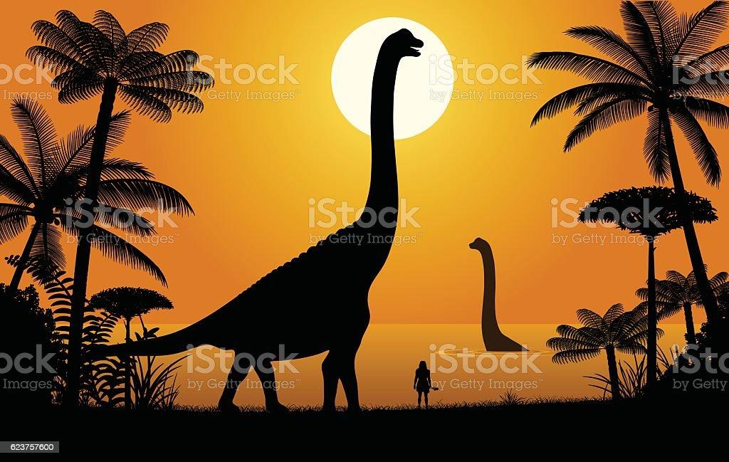 Dinosaur - Abydosaurus vector art illustration