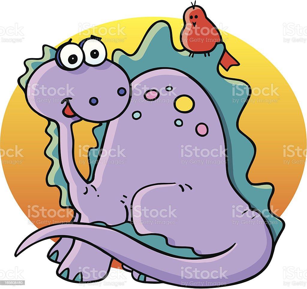 Dinosaur and friend, (BFF) vector art illustration