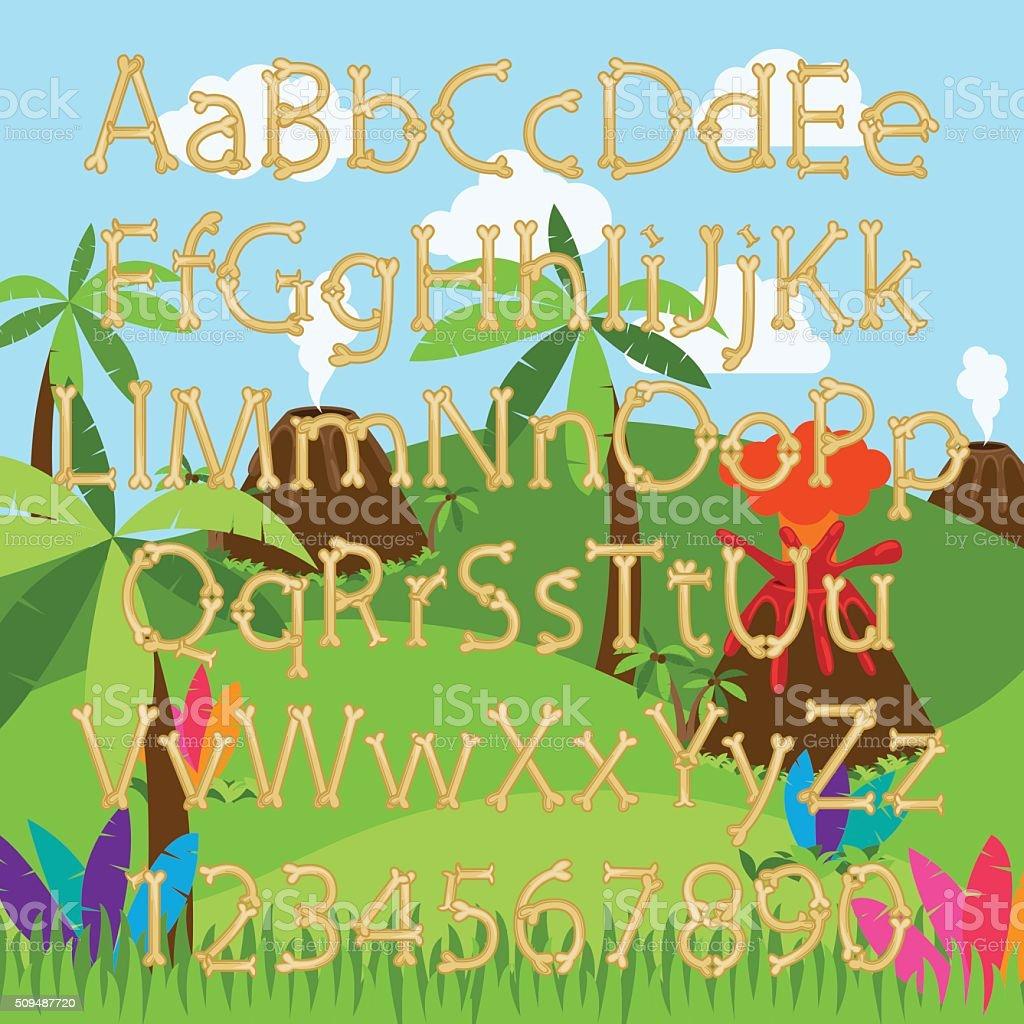 Dinosaur Bone Alphabet in Vector Format with a Background Landscape vector art illustration