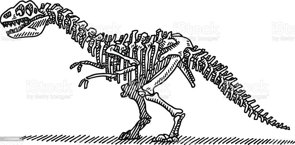 Dinosaur Bones Drawing vector art illustration