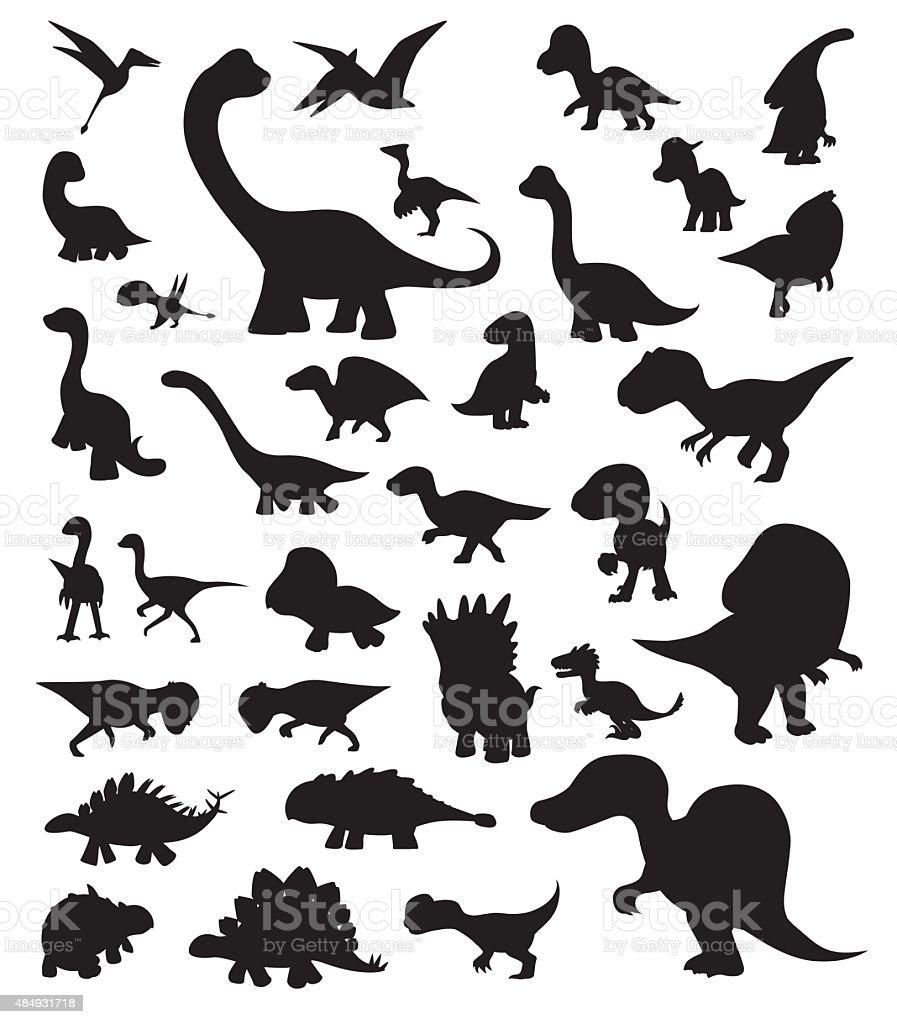 Dinosaur Cartoon Silhouettes Vector vector art illustration