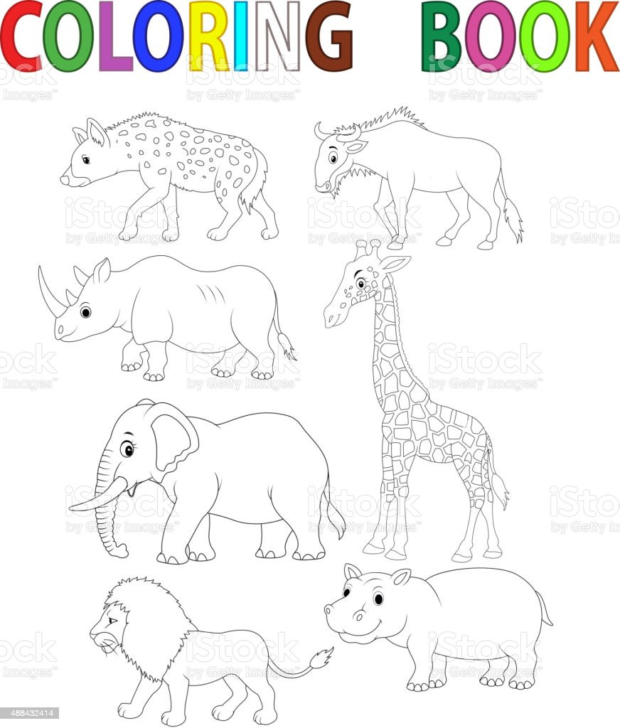 Dinosaur coloring book vector art illustration