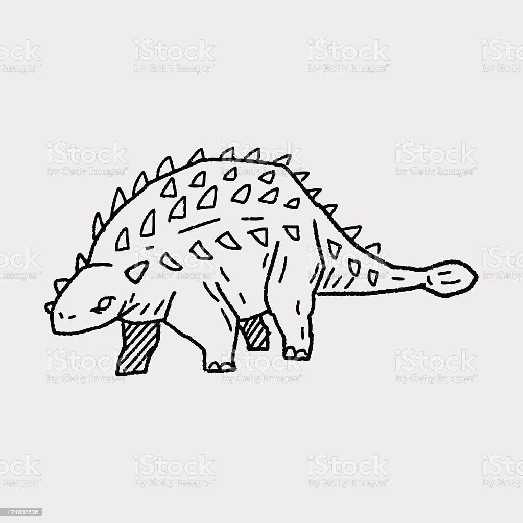 dinosaur doodle vector art illustration