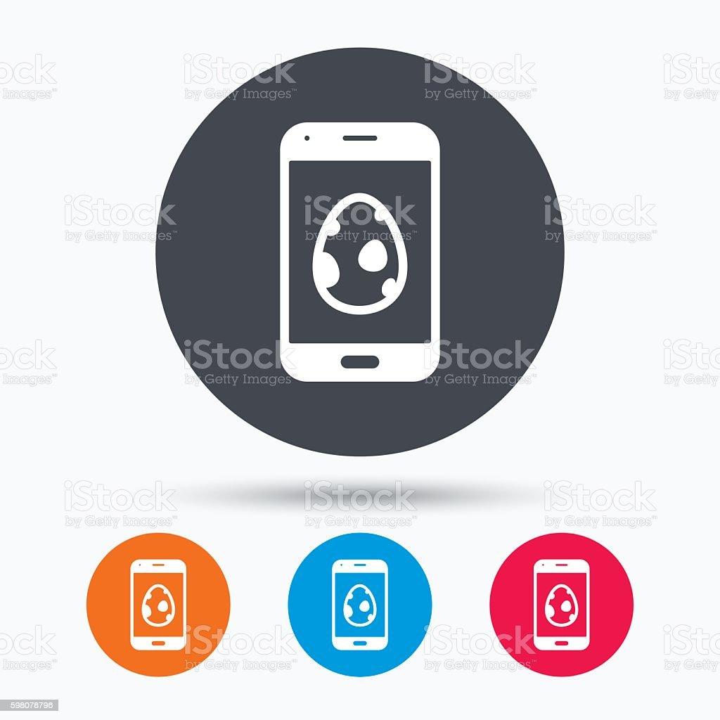 Dinosaur egg icon. Smartphone device symbol. vector art illustration