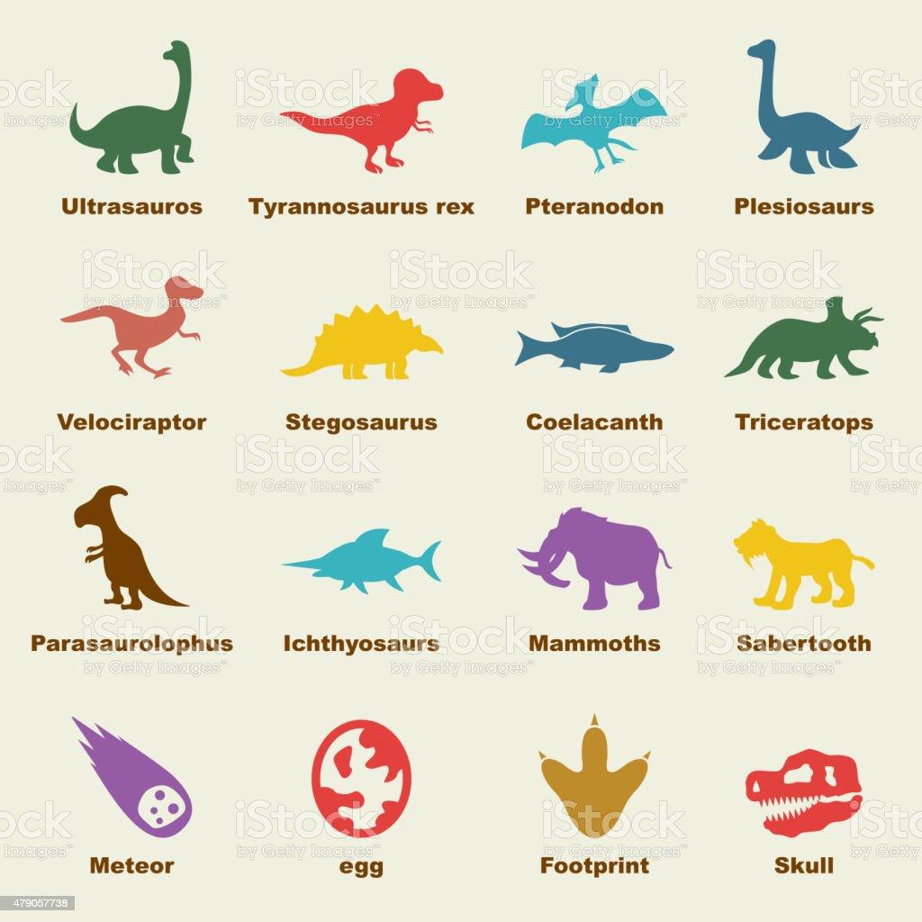 dinosaur elements vector art illustration