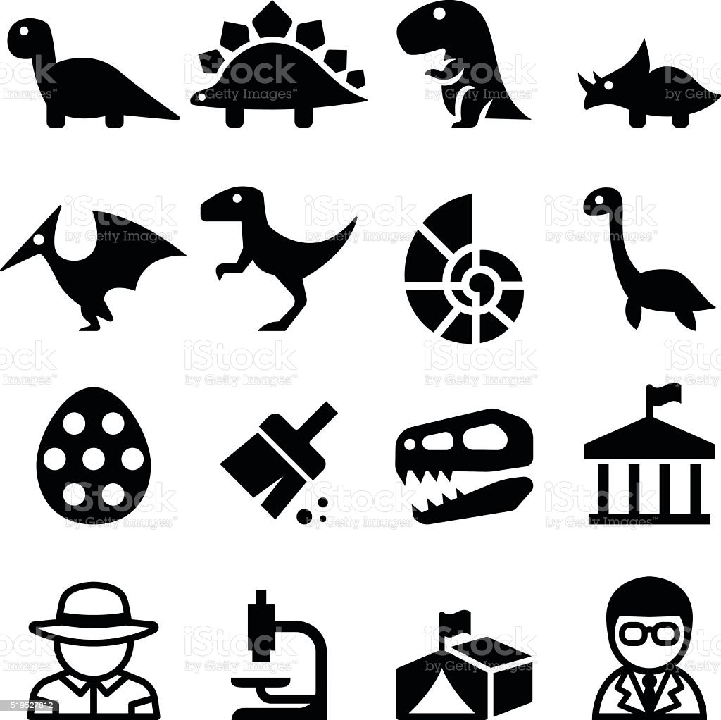 Dinosaur & Excavation icon vector art illustration