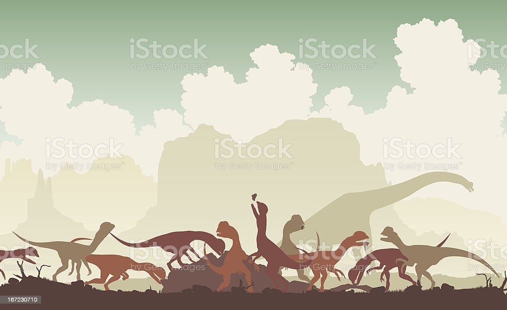 Dinosaur feast royalty-free stock vector art