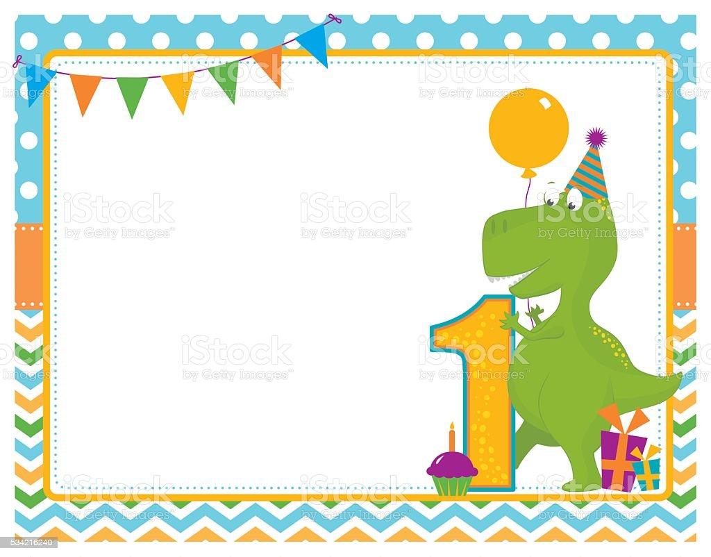 Dinosaur First Birthday Card vector art illustration