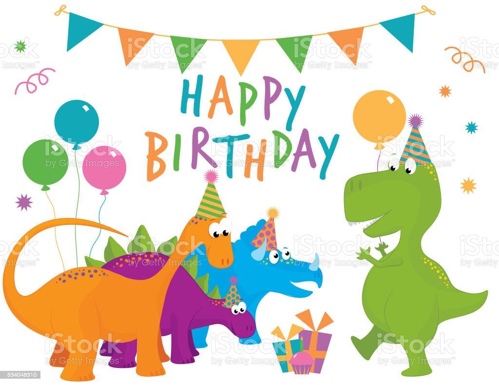 Dinosaur Happy Birthday vector art illustration