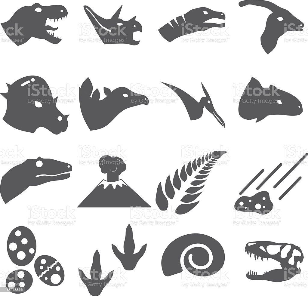 Dinosaur Icon Set Vector vector art illustration