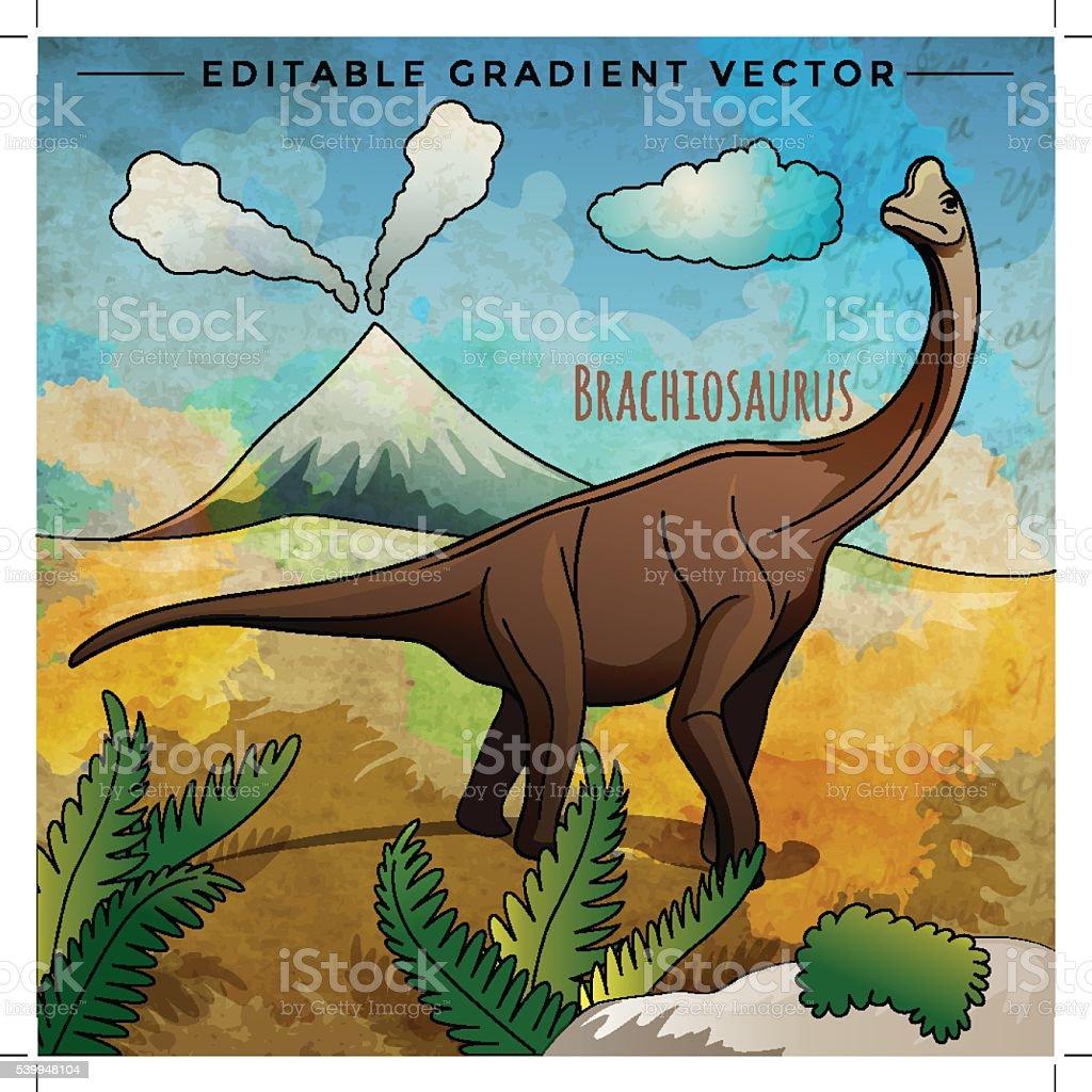 Dinosaur in the habitat. Vector Illustration Of Brachiosaur vector art illustration
