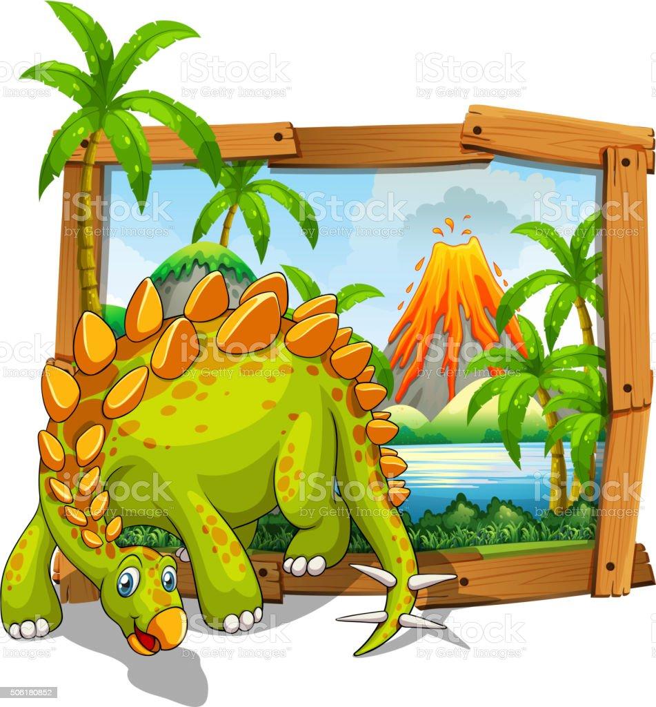 Dinosaur living by the lake vector art illustration