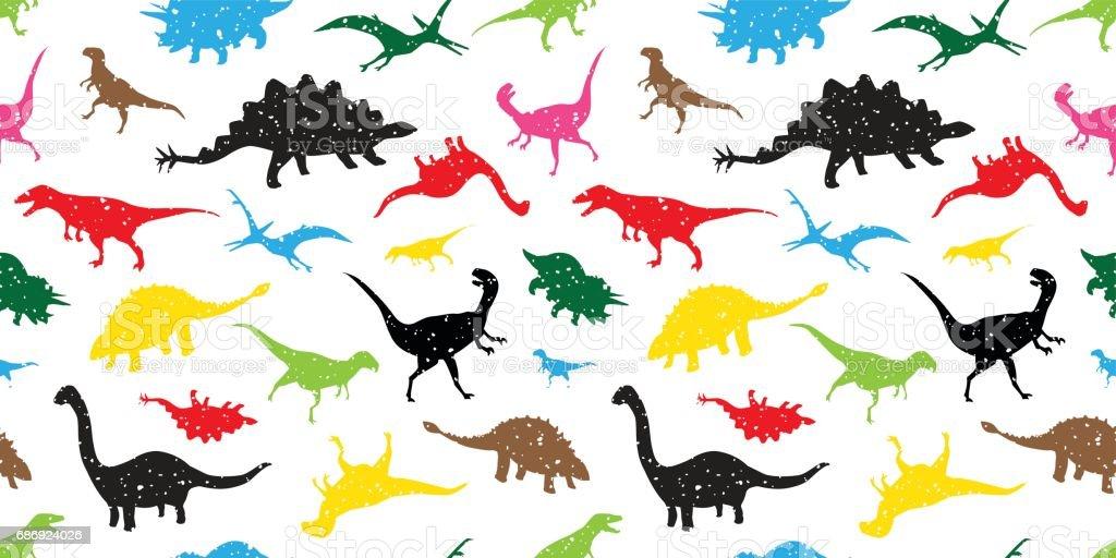 Dinosaur Seamless Pattern wallpaper - vector illustration vector art illustration